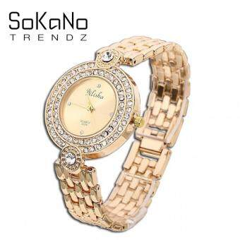 SoKaNo Trendz 2214 Yilisha Premium Rhinestone Woman Watch- Gold (Free Watch Box)