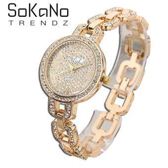SoKaNo Trendz 2227 Yilisha Premium Rhinestone Woman Watch- Gold (Free Watch Box)