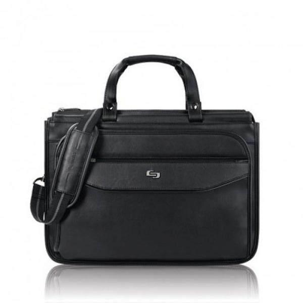 Solo Harrison 16 Inch Triple Compartment Laptop Briefcase, Hitam-Internasional