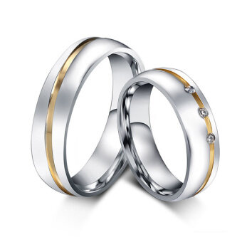 Stainless Steel Couple Ring Two Tone CZ Cubic Zirconia PromiseEngagement Wedding Band Silver