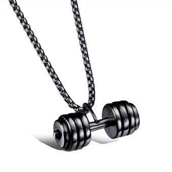 Stainless Steel Necklace Charm Chains Fitness Dumbbells Pendant