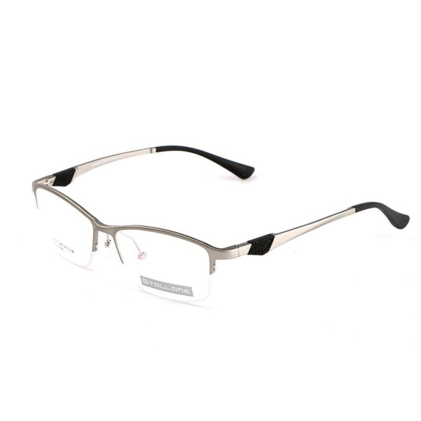 Stallane Fashion Baru Perancang Merek Populer Optik Kacamata Minus Frame Holder Eyewear Nyaman Setengah Bingkai Tontonan Paduan Aluminium Kacamata untuk Pria (hitam) -Intl