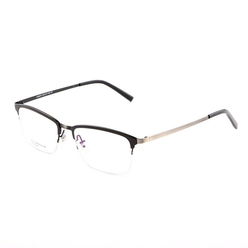 Stallane New Fashion Brand Designer Popular Optical Myopia Glasses Frame Holder Vintage Eyewear Comfortable Retro Spectacle Alloy Half Rim Eyeglasses For Men (Black)