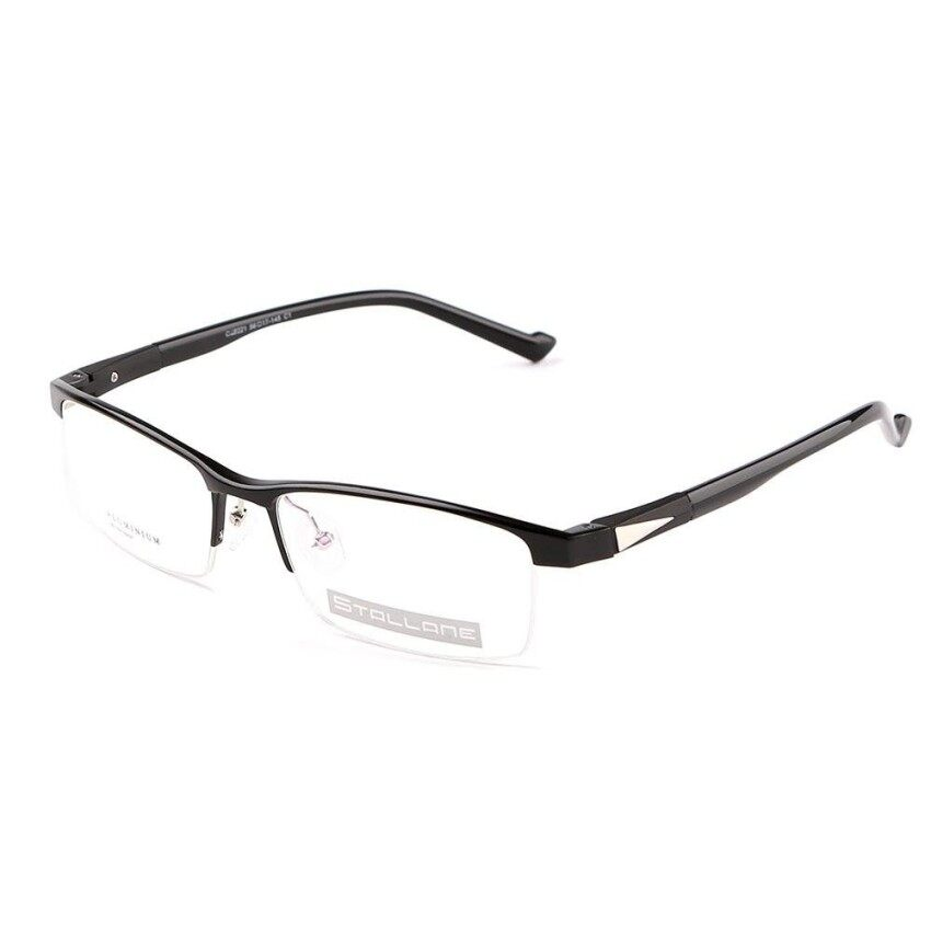 Stallane New Fashion Brand Designer Popular Optical Myopia Glasses Frame Holder Vintage Eyewear Comfortable Retro Spectacle Alloy Half Rim Eyeglasses For Men With Metal Decoration (Black)