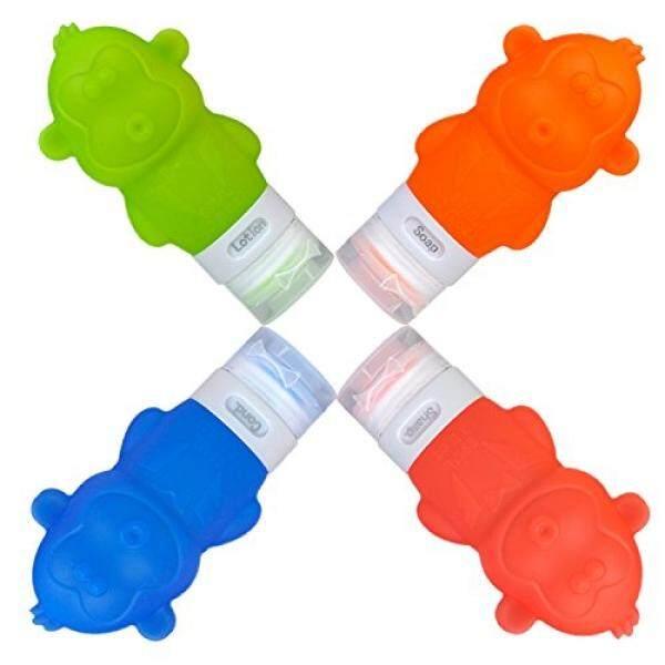 Botol Perjalanan Silikon Containers Set, Perlengkapan Mandi Tas untuk Kosmetik Shampoo Kondisioner Losion, 90 Ml (4 Pack) -Internasional