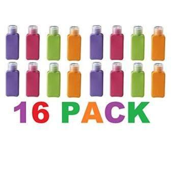 Ukuran Perjalanan 16 Botol Aneka Warna Pesawat Terbang Gimnasium Tas Shampoo Kondisioner Kulit Losion Produk Rambut Produk Kulit Produk Kecantikan 3.4 Oz Masing-masing (Set dari 16) -Internasional