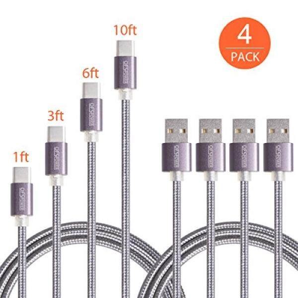 Type C Cable, Ofspower 4Pack 1ft 3ft 6ft 10ft Nylon Braided USB C Data & Charging Cable with Aluminum Connector for Galaxy S8/S8 Plus/ Note 8,Nexus 6P/5X, LG G5, OnePlus 2 and More (Black) - intl