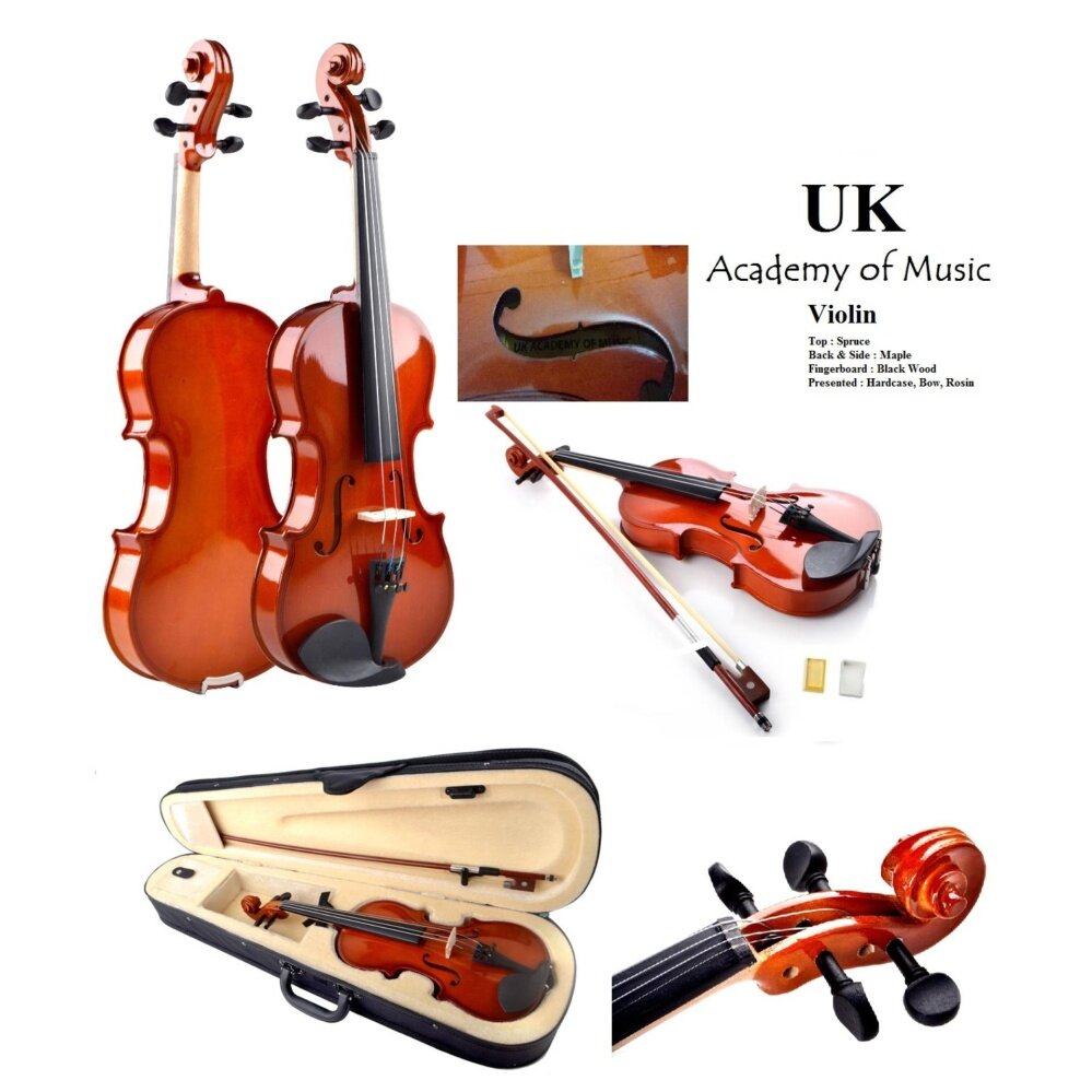 UK Violin 4/4 ( Full Size) - Gloss Surface with Free Hardcase+Bow+ ...