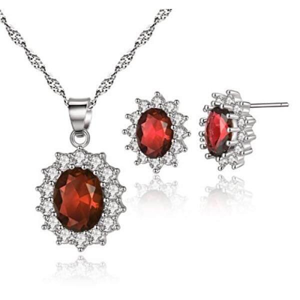 Hari Kasih Sayang Hadiah Perhiasan-5.2 Ct Simulated Gemstone Merah Safir Kate Middleton Jewellry Anting-Anting Liontin Kalung Set-Bagus hari Natal Ulang Tahun Anniversary Hari Ibu Hadiah Pernikahan-Internasional