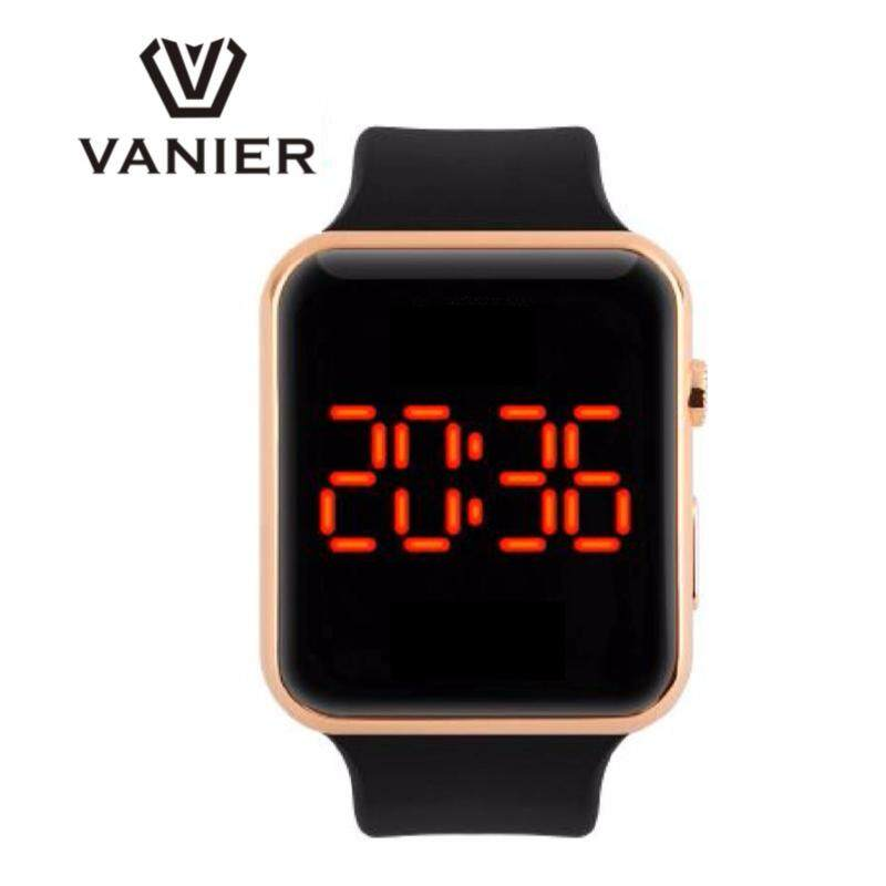 VANIER 2018 LED Sport Square Mirror Face Digital Watch Red LED Watches Metal frame WristWatch Sport Clock Hours Malaysia