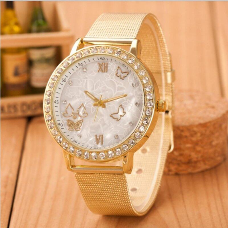 VANIER-Ladies Crystal Rhinestones Butterfly Gold Stainless Steel Mesh Band Wrist Watch Gold. Malaysia