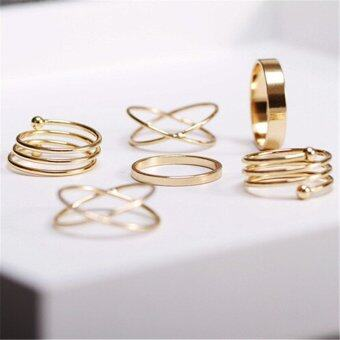 Velishy Fashion Unique Ring Set Punk Alloy Knuckle Rings for WomensFinger Rings 6Pcs Gold