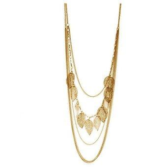 Vintage Leaf Pendant Multi-layer Necklace Long Sweater Chain forLady Gold