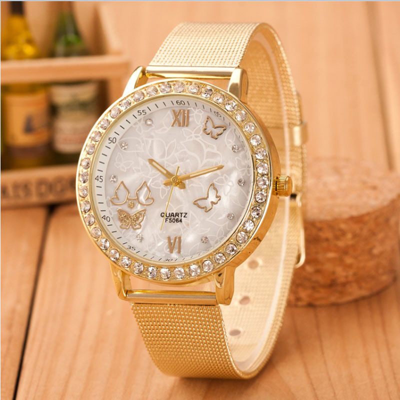 Women Ladies Crystal Butterfly Gold Stainless Steel Mesh Band Wrist Watch Gold Malaysia
