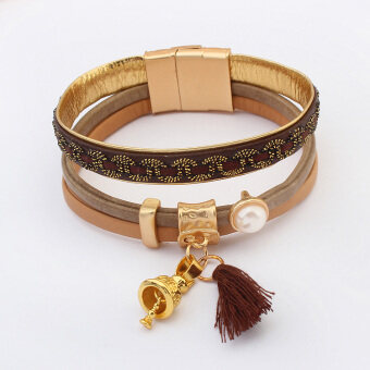 Women Multi-layer leather cord Christmas decorative Bell pendant bracelet