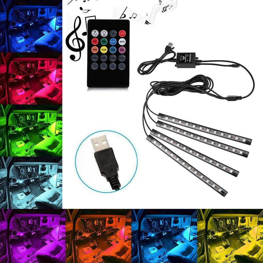 xfsmy Car Interior Lights, USB Car LED Strip Lights Atmosphere Neon RGB Lights With Music And Wireless Remote Control, 4pcs - intl