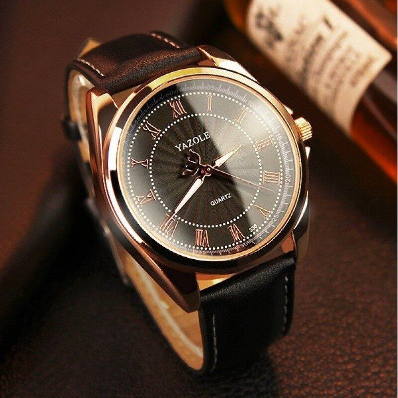Yazole 336 Mens Quartz Water Resistance Rhinestone Golden Bezel Leather Wrist Watch (All Black) Malaysia