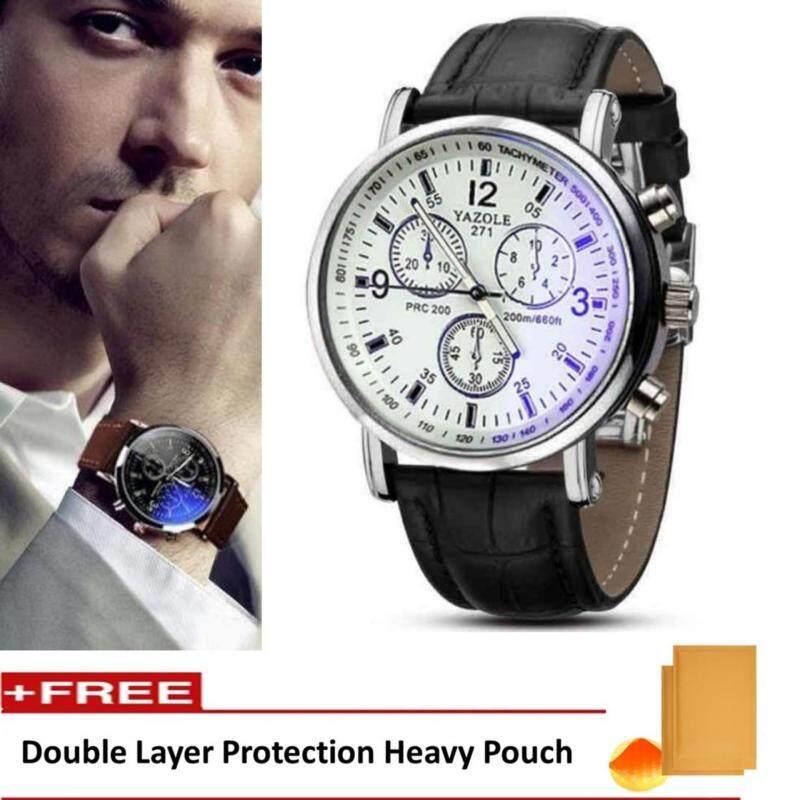Yazole Vintage Unisex Leather Band Stainless Steel Sport MilitaryQuartz Wrist Watch (Black&White) Malaysia