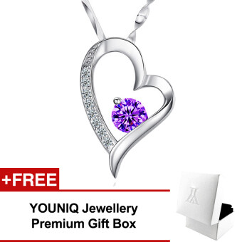 YOUNIQ Filled In Love 925 Sterling Silver Pendant Necklace with Cubic Zirconia (Purple)