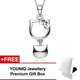 YOUNIQ Kitty Bell 925 Sterling Silver Necklace Pendant with Cubic Zirconia
