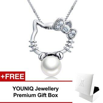 YOUNIQ Kitty Pearl 925 Sterling Silver Necklace Pendant with Cubic Zirconia