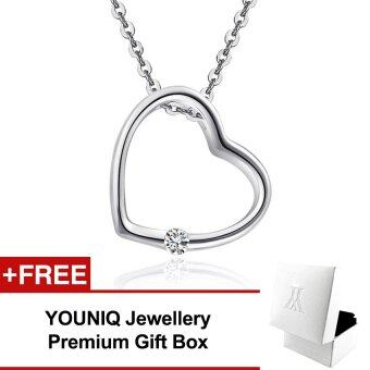 YOUNIQ Simple Love 925 Sterling Silver Necklace Pendant with Cubic Zirconia (Silver)