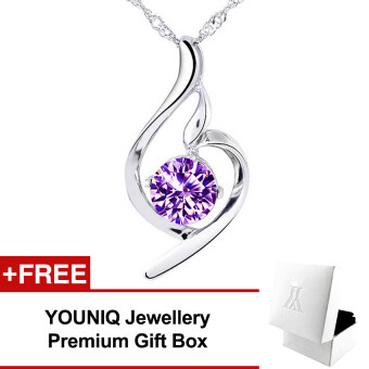 YOUNIQ Wave 925 Sterling Silver Necklace Pendant with Cubic Zirconia (Purple)