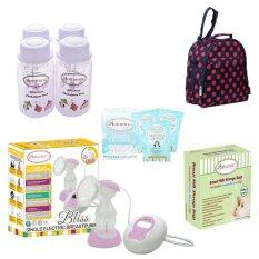 Autumnz Bliss combo set (Bliss Single Electric Breastpump + Reusable Ice Pack 3pcs + Breastmilk Storage Bottles 4pcs + Breast Milk Double Zip-Lock Storage Bags + Assorted Classique Cooler Bag)