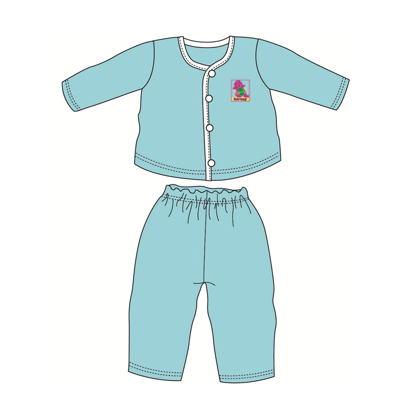 Barney Baby Suit-Long Sleeve 100% Cotton 0mth to 18mth - Blue Colour