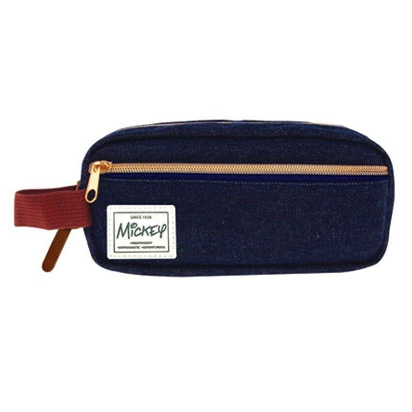 Disney Mickey Adult Pencil Bag With Pocket - Blue Colour
