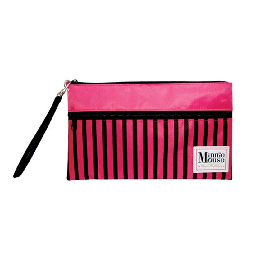 Disney Minnie Adult Double Zip Pouch - Pink And Black Colour