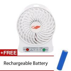 GlobalTrend Portable Mini Fan Free Rechargeable Battery (White)