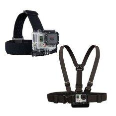 Gopro Accessories Chest Belt + Head Strap Mount strap with Plastic Buckle for GoPro Hero 1/2/3/3+