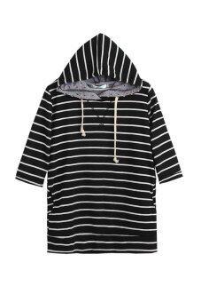 Colors functional side pockets drawstring hoodie polka dot pattern