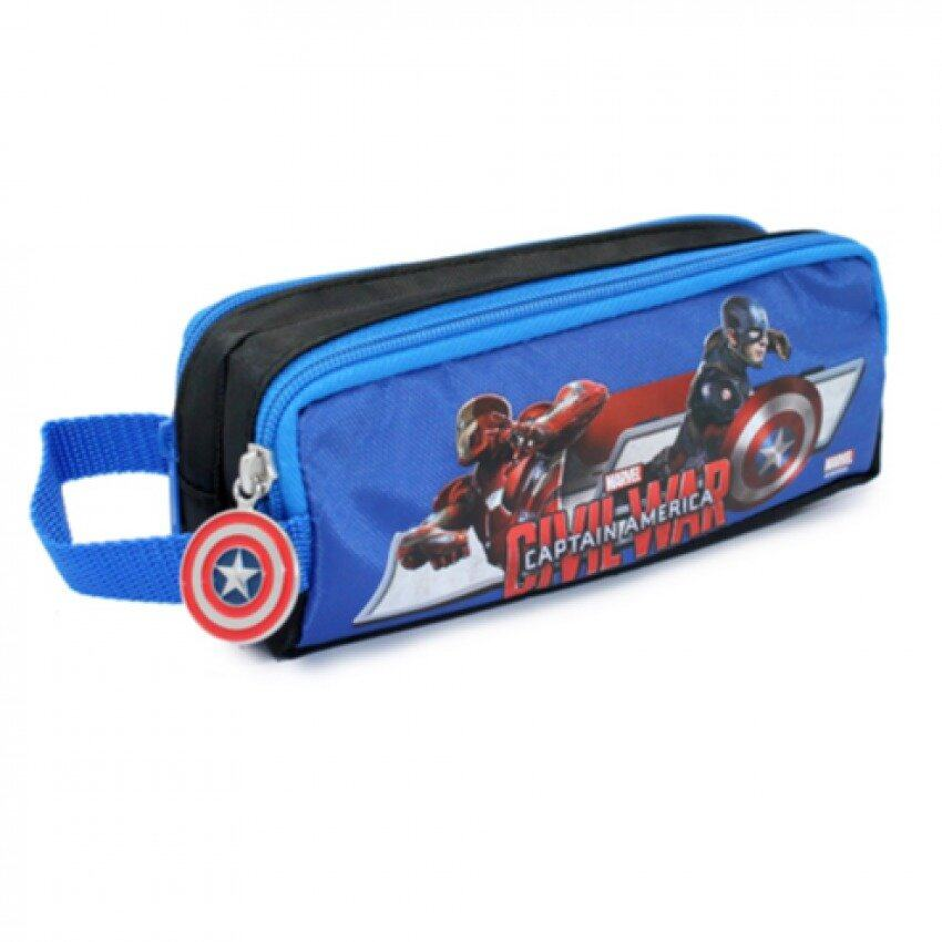 Marvel Avengers Captain America Civil War Double Zipper Pencil Case - Blue And Black Colour