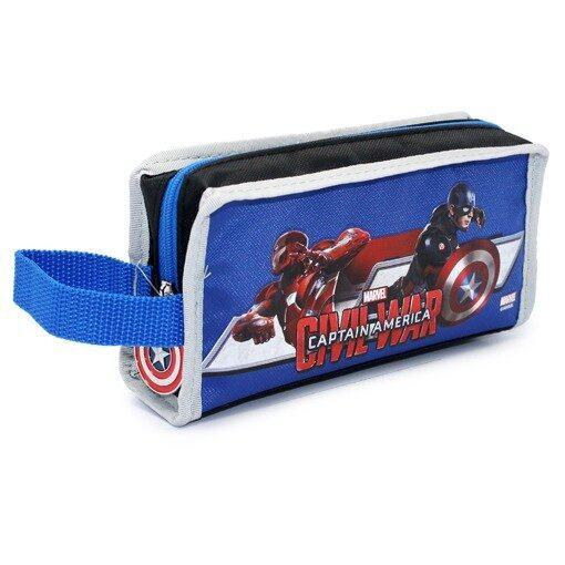 Marvel Avengers Captain America Civil War Single Zipper Pencil Case - Blue Colour