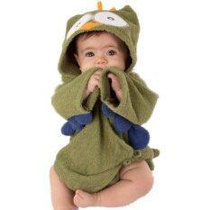 Owl Cartoon Cotton Towel Bathrobes - Green