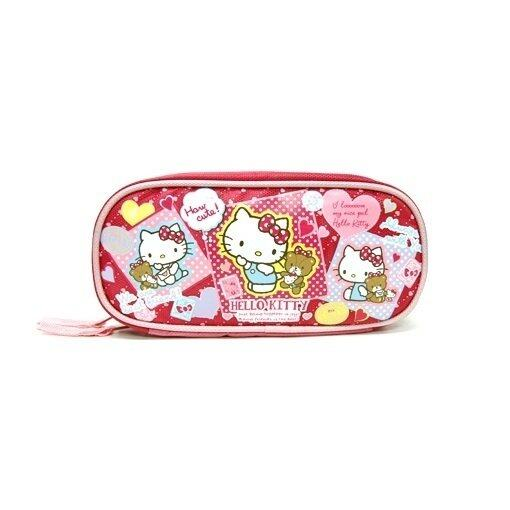 Sanrio Hello Kitty Square Pencil Bag - Red Colour