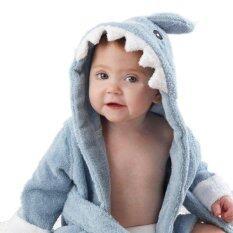 Shark Cartoon Cotton Towel Bathrobes - Blue