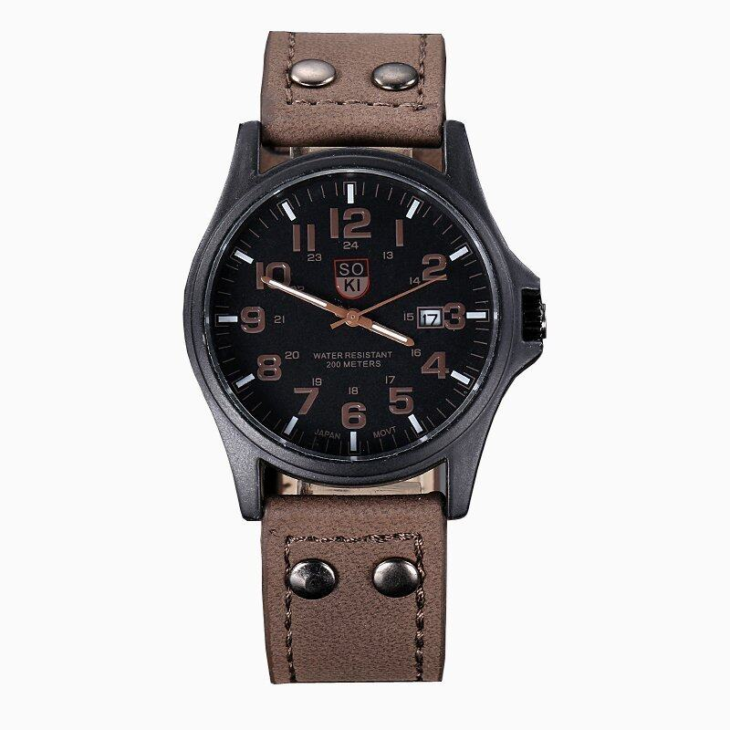 Vintage Mens Waterproof Date Leather Strap Sport Quartz Army Watch Brown Malaysia
