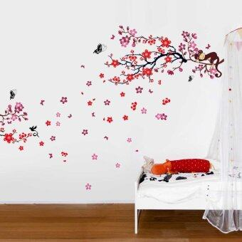 Walplus pink monkey tree and chinese red blossom combo - Stickers muraux leroy merlin ...