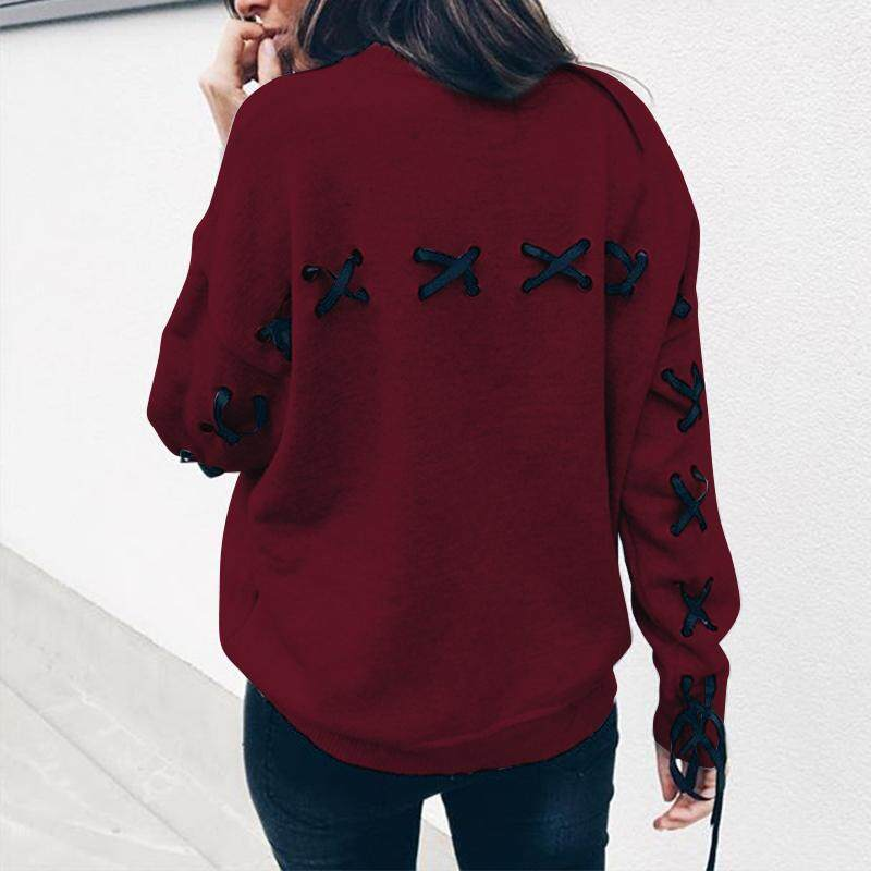 Detail Gambar Zanzea Wanita Sweater On Tanpa Kancing Kaus Terbaik  Sweatshirt Longgar Plus Ukuran Renda Blus Anggur Merah-Internasional Terbaru 0a9272e7cc