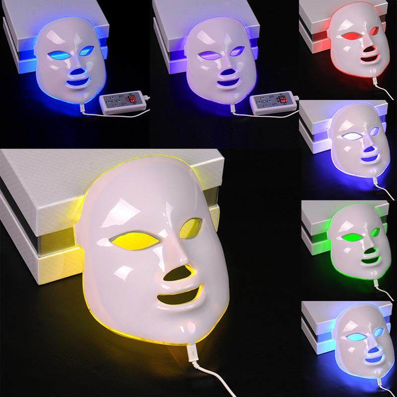 Veecome 7 Colors Light Photon Electric Led Facial Mask Tester Skin Rejuvenation Anti Acne Wrinkle Removal Therapy Moisturizing Brightening Complexion Uk Plug By Veecome.