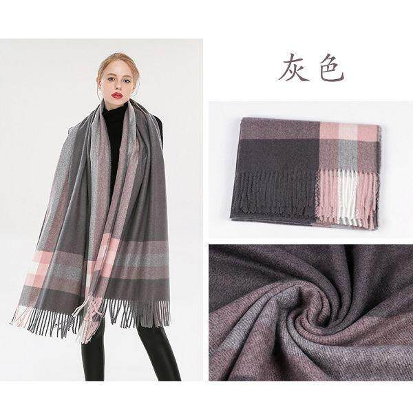 Autumn Winter Men Women British Grid Pure Cashmere Keep Warm Thick Tassel Dual Use Scarf Air Condition Shawl By Xuderong Shopping Center.