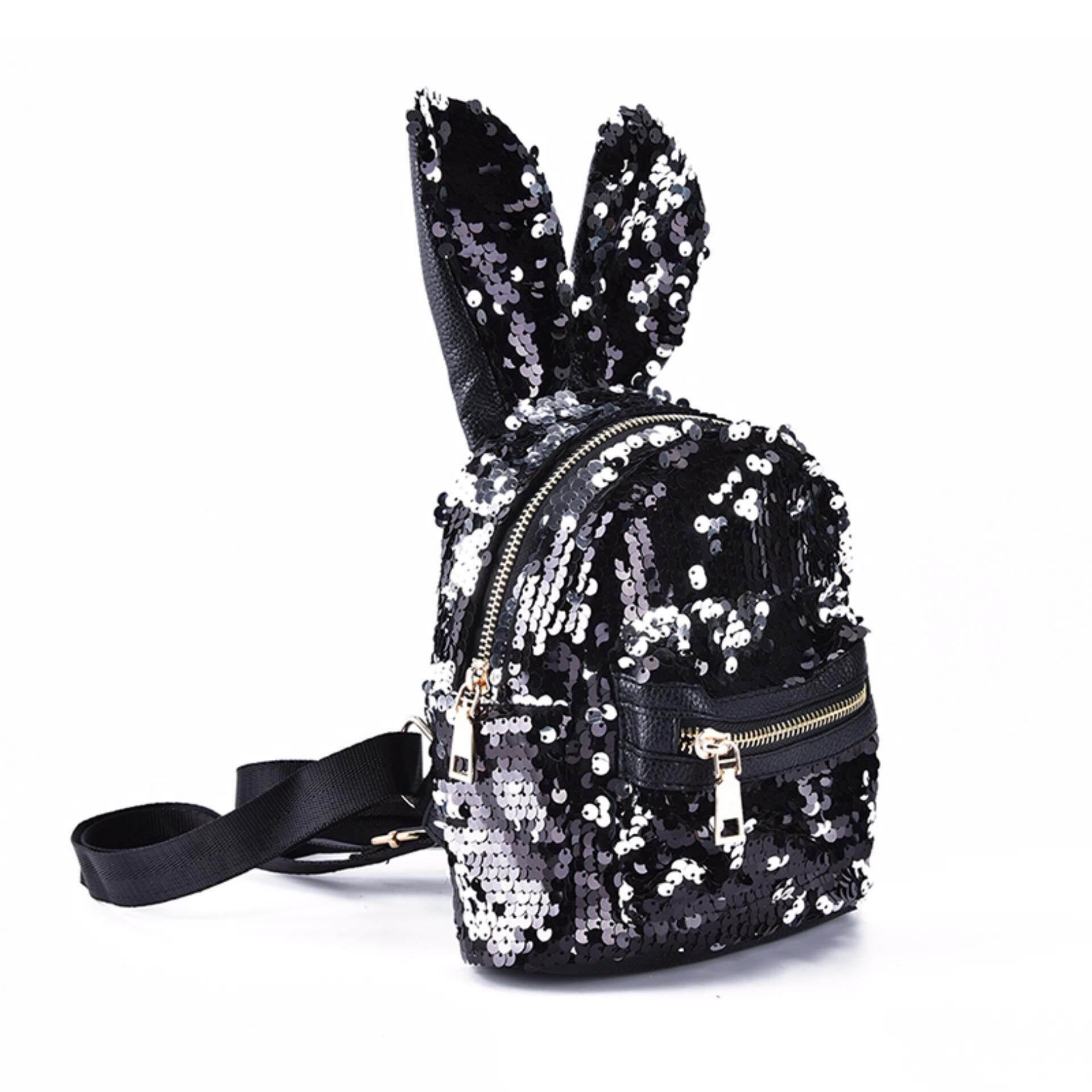 b014b498f4 Shinning Bling Sequins Cute Big Rabbit Ears Backpack Girls Women Mini  Travel Bag Black Anti-