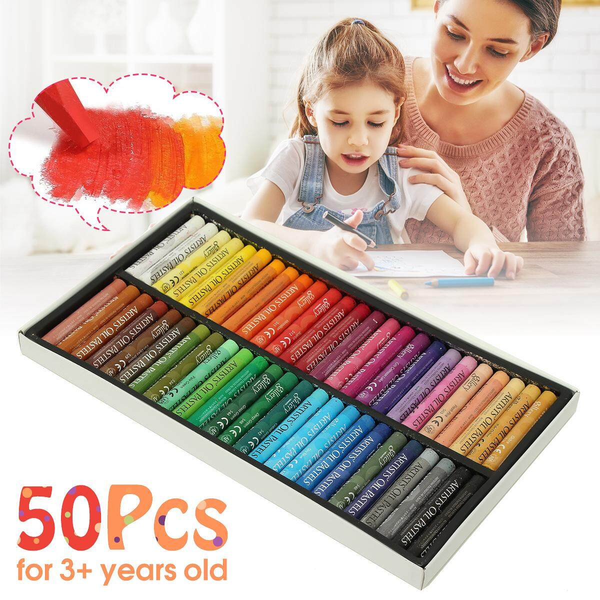 50 Colors Box Non-Toxic Artists Gallery Oil Pastels Drawing Pens Drawing Paint By Audew.