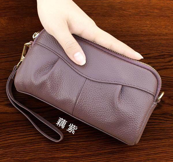 KX 2018 new large-capacity ladies leather clutch bag top layer leather handbag large screen mobile phone bag - Purple