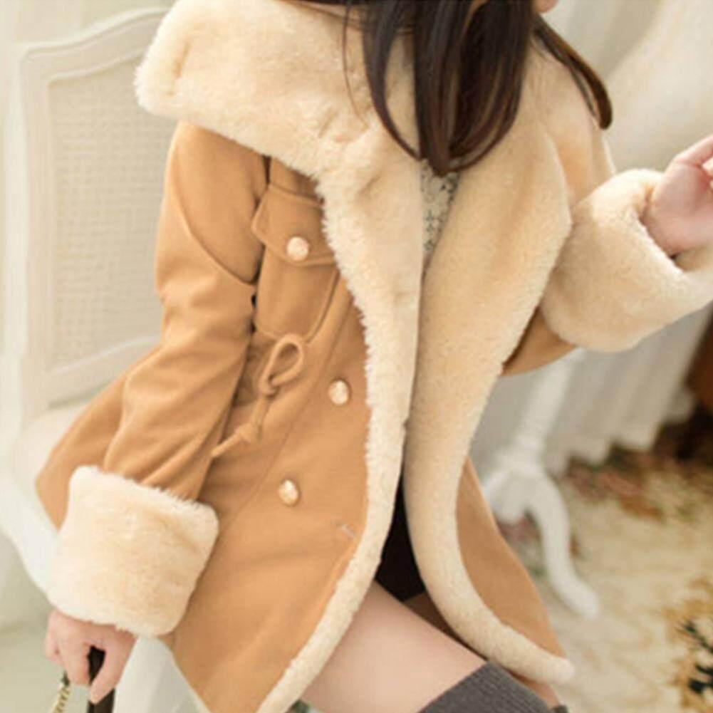 ผู้หญิงฤดูหนาวรักษาความอบอุ่นแขนยาวปกหนาสีทึบคู่เสื้อโค้ทขนสัตว์ - Intl.
