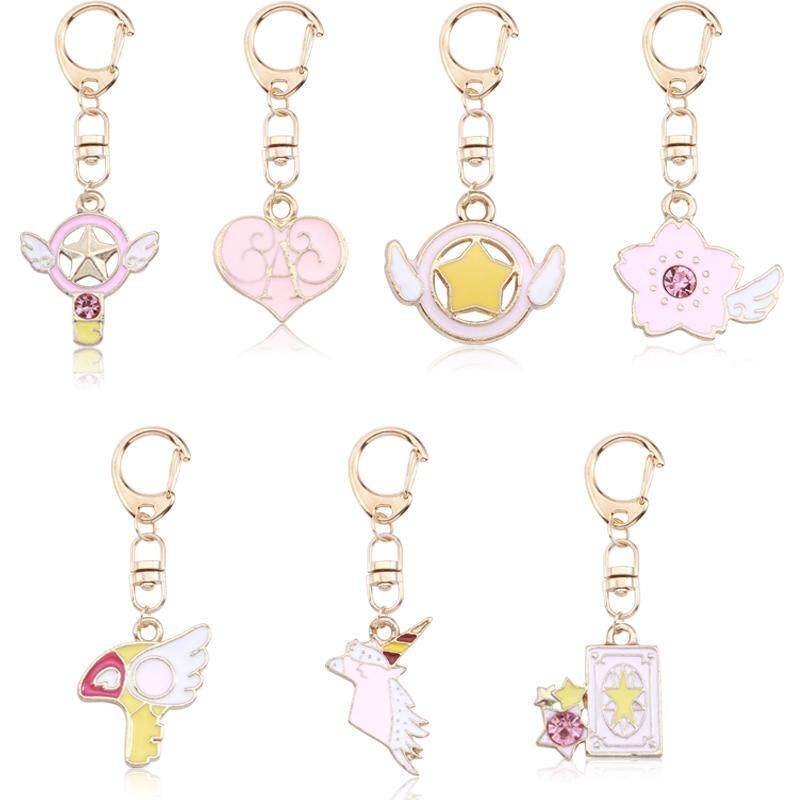 1pc/cute Diy Anime Key Chains Pink Heart Variety Sakura Magic Card Keychain For Women Kawaii Gold Keyring Childhood By Super Price Mall.