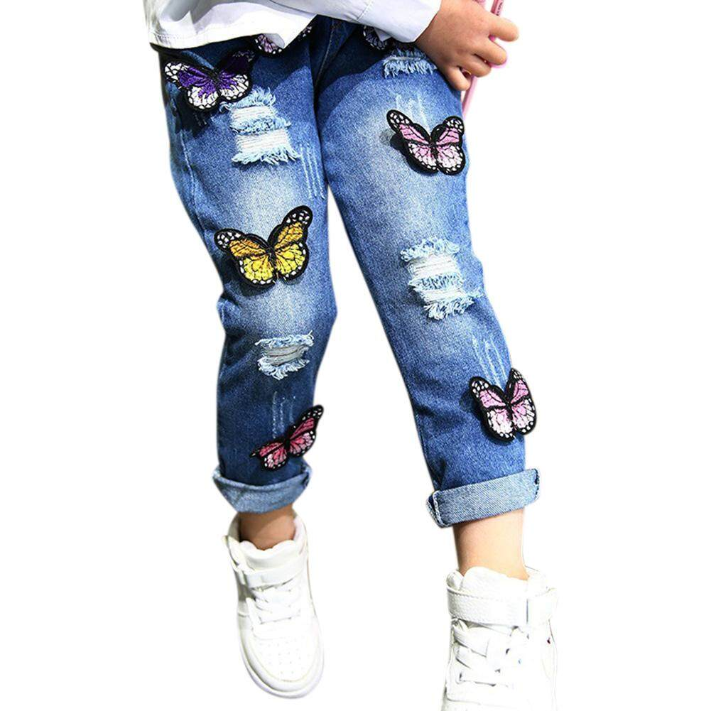 544087d12 Children Girls Ripped Jeans Butterfly Embroidery Fashionable Long Denim  Pants Trousers